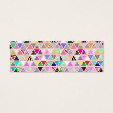 girly_trend Vintage Abstract Floral Triangles Pastel Patchwork Mini Business Card