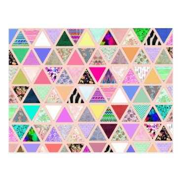girly_trend Vintage Abstract Floral Triangles Pastel Patchwork Postcard