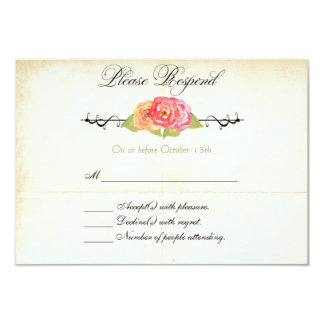 Vintage Abstract Flower RSVP Response Card Custom Announcement