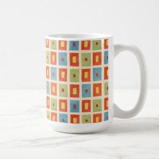 Vintage Abstract Geometric Blocks Coffee Mug