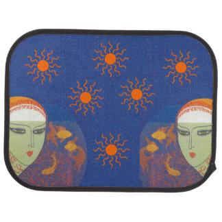 Vintage Abstract Lady Behind Gold Fish Bowl Sun Car Floor Mat