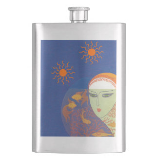 Vintage Abstract Lady Behind Gold Fish Bowl Sun Flask