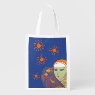 Vintage Abstract Lady Behind Gold Fish Bowl Sun Grocery Bags