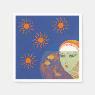 Vintage Abstract Lady Behind Gold Fish Bowl Sun Napkin