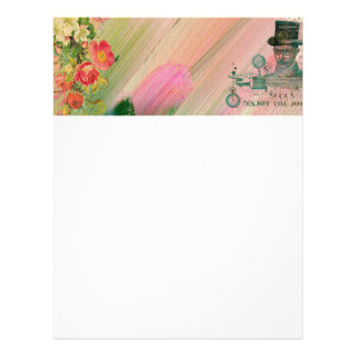 Vintage abstract painting floral steam punk shabby letterhead