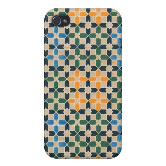 Vintage Abstract Quilt Inspired Tile Fabric iPhone 4/4S Covers