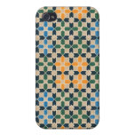 Vintage Abstract Quilt Inspired Tile Fabric Covers For iPhone 4