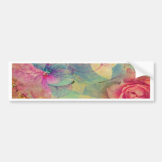 Vintage abstract rose victorian shabby chic pink car bumper sticker
