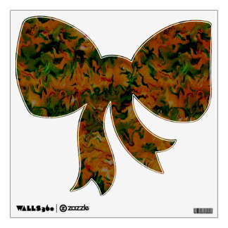 Vintage Abstract Tangerine Green Bow Wall Decal