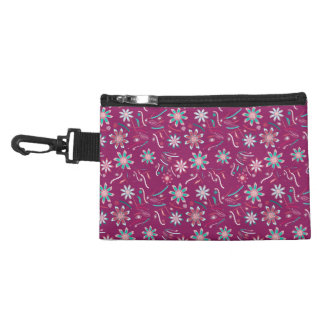 Vintage abstract teal pink floral pattern accessories bag