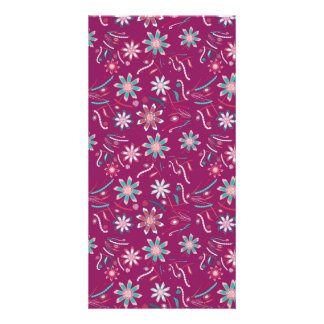 Vintage abstract teal pink floral pattern card