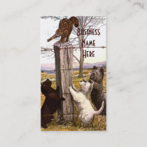 Vintage Abstract Terriers and Bobcat Business Card