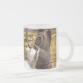Vintage Abstract Terriers Frosted Glass Mug
