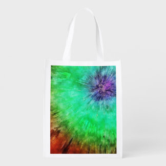 Vintage Abstract Tie Dye Grocery Bag