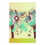 vintage abstract trees stationery design