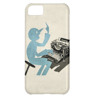 Vintage Abstract Typewriter Character Typing Blue Cover For iPhone 5C