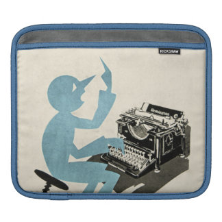 Vintage Abstract Typewriter Character Typing Blue iPad Sleeve