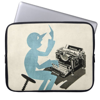 Vintage Abstract Typewriter Character Typing Blue Laptop Computer Sleeves