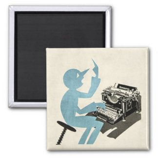 Vintage Abstract Typewriter Character Typing Blue 2 Inch Square Magnet