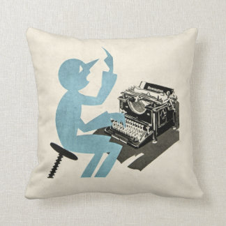 Vintage Abstract Typewriter Character Typing Blue Throw Pillow