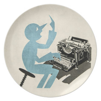Vintage Abstract Typewriter Character Typing Blue Party Plates