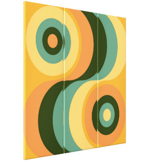 Vintage Abstract Wavy Colorful Rainbow Squares Canvas Print