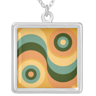 Vintage Abstract Wavy Colorful Rainbow Squares Silver Plated Necklace