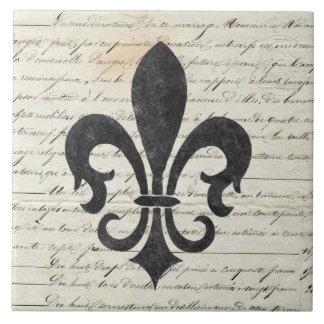 Vintage Accents French Ephemera Fleur De Lis Ceramic Tile