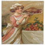 Vintage, acción de gracias Turquía de la porción d Servilleta Imprimida