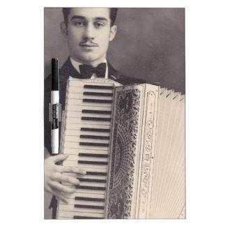 Vintage Accordion Player Dry Erase Board