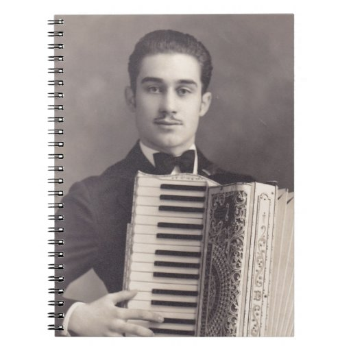 Vintage Accordion Player Note Books