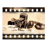 Vintage, accordion-style, folding camera postcard