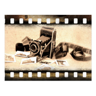 Vintage, accordion-style, folding camera postcard