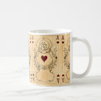 Vintage Ace Hearts Playing Cards Collage Coffee Mug