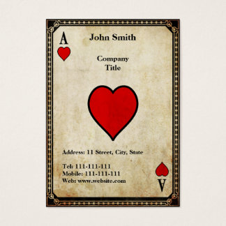 Vintage Ace of Hearts Business Card