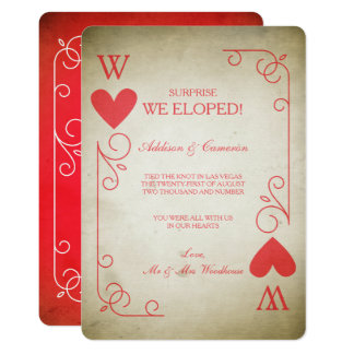 Vintage Ace of Hearts Elopement Announcement