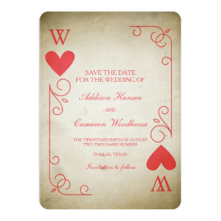 Vintage Ace of Hearts Save the Date Card