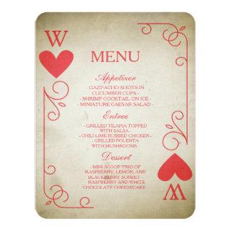 Vintage Ace of Hearts Wedding Menu Invitation