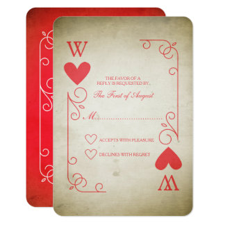 Vintage Ace of Hearts Wedding RSVP Card