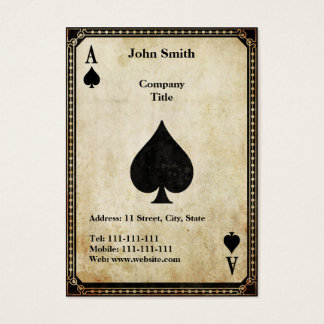 Vintage Ace of Spades Business Card
