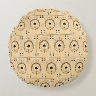 Vintage Ace Spades Playing Cards Collage Round Pillow