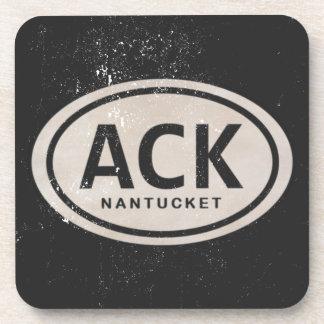 Vintage ACK Nantucket MA Beach Tag Drink Coasters