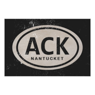 Vintage ACK Nantucket MA Beach Tag Poster