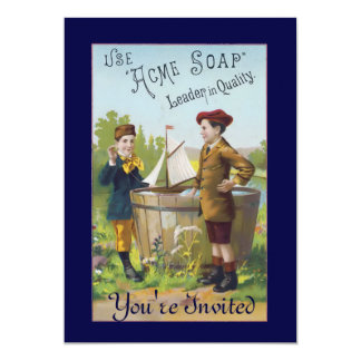 "Vintage Acme Soap Ad Invitation 5"" X 7"" Invitation Card"