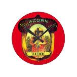 Vintage acorn stove advertisement round clock