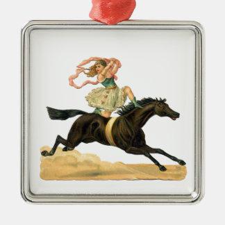 Vintage acrobat girl on A horse Metal Ornament