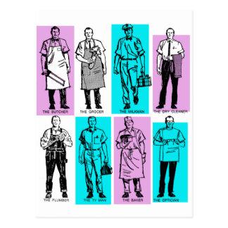 Vintage Ad Art American Workers in the Sixties Men Postcard