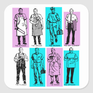 Vintage Ad Art American Workers in the Sixties Men Square Sticker