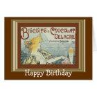 Vintage Ad Biscuits Chocolat Delacre Birthday Card