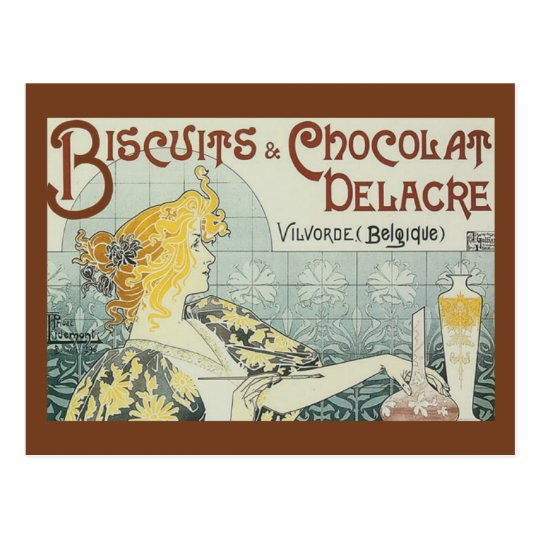 Vintage Ad Biscuits Chocolat Delacre Postcard